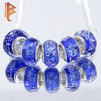 Barato Vidro Diy Solto Azul-BELAWANG Blue Murano Glass Charm Beads European Big Hole Loose Beads Fit Charm BraceletsNecklaces DIY Jewelry Making For Women Gift
