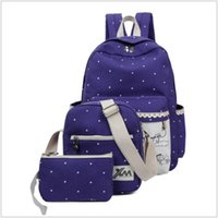 Wholesale Canvas Big Backpack For School - Hot Sale Canvas Women Backpack Big Capacity School Bags For Teenagers 3 Pcs Set Printing Student Backpacks For Girls Mochila TRD-002