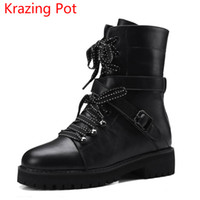 Wholesale Wedges New Arrival - wholesale New Arrival Fashion Cow Leather Round Toe Med Heels Lace Up Winter Boots Runway Superstar Rivets Keep Warm Motorcycle Boots L28