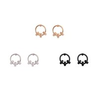 Wholesale Finish Order - Luxury Gold Silver Tone Finish Circle Earring Stud 3 Color Available Concise Style OEM ODM Wholesale DHL Free Shipping Minimum Order USD50