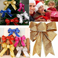 Wholesale Wholesale Plastic Bow Supplies - Christmas Bows Bowknot Tree Hanging Ornament Home Xmas Party Sequin Glitter Festive Party Wedding Supplies Decoration Gifts HH-P06