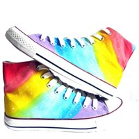 Wholesale Rainbow Hand Painted - Unisex Adult Couple Graffiti Hand Painted Canvas Shoes High Top Style Rainbow Striped Design Fashion Shoes for Men Women