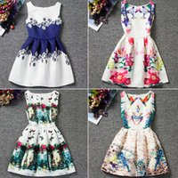 Wholesale Sleeveless For Summer Cartoon - Casual Girls Summer Sleeveless Cartoon Print Dress Knee Length Princess A-Line Dress Clothes For Kids 6 to 12 years