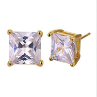 Wholesale Yellow Gold Square Earrings - Square Cubic Zircon 24k Yellow Gold Filled Womens Mens Stud Earrings(2.0ct)