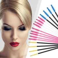 Wholesale Eyelashes Brush Disposable - 50Pcs lot Disposable Eyelash Brushes Mascara Wands Applicator Spoolers Makeup Cosmetics Tool For Women Lady Gifts 7Color HH-B03