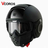 Wholesale Vintage Masks - VCOROS brand vintage Detachable Goggles Mouth Filter retro mask Half Open Face Motorcycle Helmets mask cosplay prop goggles