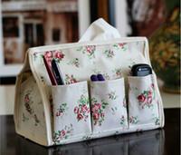 Wholesale Tissue Floral Napkins - Wholesale- Pastoral Floral Home & Car Tissue Case Box Container Towel Napkin Papers Bag Holder BOX Case Pouch