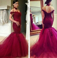 Wholesale good quality prom dresses - 2017 Good Quality Burgundy Sweetheaty Evening Dresses Tulle Lace Appliques Off The Shoulder Long Formal Prom Dress Prom Party Gown