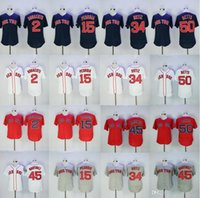 Wholesale Boston White Sox - 2017 Men's Boston Red Sox 34 David Ortiz 15 Dustin Pedroia 50 Mookie Betts 2 Xander Bogaerts 45 Pedro Martinez baseball jersey