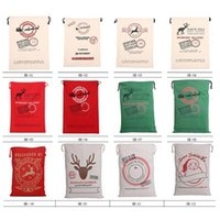 Wholesale Big Pouch - Christmas Gift Bag Large Canvas Santa Claus Bag Environmental Admission Package Pouch Bags Christmas Supply 12 Styles Wholesale 0708028
