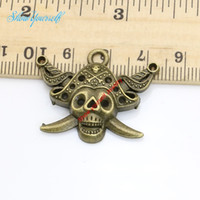 Wholesale Antique Bronze Skull Charm - 8pcs Antique Silver Bronze Plated Pirate Skull Charms Pendants for Necklace Jewelry Making DIY Handmade Craft 26x33mm
