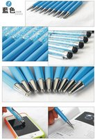 Wholesale Iphone 5s Swarovski - Colorful 2 in 1 Swarovski Crystal Capacitive Touch Stylus Ball Pen for ipad iPhone 6 6plus 5S 4S 5C HTC Samsung i9500 note3