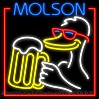 "Wholesale molson beer - Molson Duck Neon Sign Handcrafted Custom Real Glass Tuble Beer Bar KTV Disco Motel Club Pub Beer Display Advertising Sign 24""x24"""