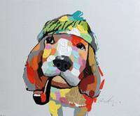 cap panel tier großhandel-Gerahmte Basset Hound Dog Portrait Uhr Cap Pipe Pop Art, reine handbemalte moderne Tier Wand Kunst Ölgemälde auf Leinwand Multi Größen Jn074