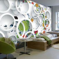Wholesale Art Abstract Fruit - Custom Modern Minimalist Mural Photo Wallpaper White Ring Cycle Fruits Wall Mural Abstract Art Wall Paper Bedroom Wall Decor