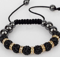 Wholesale Min Order 15 - Min.$15 Mixed Order+shamballa +Gift.Black fwer qr10mm micro pave cz Disco ball Beads ESNS Crystal Shamballa Bracelet Men Jewelry. DIY