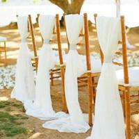 ingrosso la sedia di nozze piega diy-Flowy bianco avorio chiffon sedia da sposa telai archi personalizzati coperture della sedia per la cerimonia nuziale di nozze fai da te decorazioni sedia banchetto con fermagli