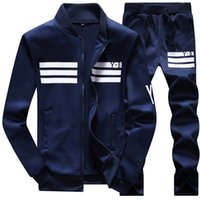 Wholesale Good Brand Black Suit - Wholesale-New 2016 Sping Fashion Brand Stand Collar Sweatshirt Men Good Quality Sport Suits Men Tracksuit Mens Clothing