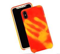 thermisches gehäuse großhandel-Thermoempfindliche Farbwechsel Fall magische TPU Fällen Finger zurück Abdeckung Sensing Thermal Sensor Wärme Shell Haut für iPhone 6 plus 7 7 plus
