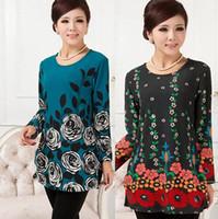 Wholesale Long Tunic Sweater Xl - Wholesale- 20 COLORS! XL,XXL,3XL,4XL,5XL 2016 Plus Size Sweaters Women Winter Flower Print Pullovers Knitwear Woman Tunic Poncho Vestidos