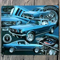 Venta Al Por Mayor Del Estaño De La Pared Baratos-Venta al por mayor-18 * 21CM 1965 Cartel de metal azul Ford Mustang Tin Sign Wall Decor