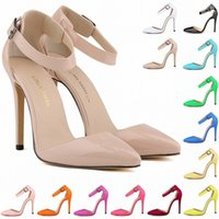 Wholesale Womens Pink Pumps - Zapatos Mujer Fashion Womens Pointed Toe Patent High Heels Sexy Ankle Strap Sandals Pumps Ladies Party Shoes Size US 4-11 D0081