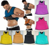Wholesale Latex Neck Corsets - DHL free Ultra Sweat men's body shapers Slimming Belt Belly Sweat Corset Neoprene Waist Trainer Round neck Vest Cincher Rubber latex