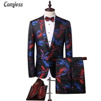 Wholesale Vintage Flying Fish - Hot (Blazer+Pants) 3D Printed Men Suit Slim Koi Fish Pattern Chinese Style Stage Wear Skinny Vintage Mens Suits With Pants M-4XL