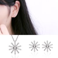 Wholesale Eastern Star Necklace - fashion sterling silver beautiful star shaped pendant necklace and stud earring jewelry set white zircon jewelry