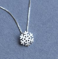 Wholesale Cheap Real Jewelry For Women - 925 sterling silver necklace brand design fashion cute snowflake shape classic fashion real silver jewelry for women cheap sale