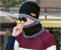 Wholesale Thick Knit Scarf Sets - Beanie Hat Scarf Set Knit Hats Warm Thick Winter Hat for Men and Woman Unisex Cotton Beanie Knitted Caps