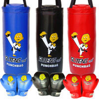 Wholesale Gloves Cartoon - SUTEN Cartoon Children Boxing Sandbag Gloves 2pcs Set Children Sanda Boxing Fighting Set Kids Protective Gear 2502067