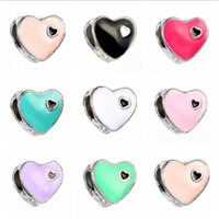Vente en gros Silver Mom Heart Alloy Bead Bricolage European Large Hole Spacer Beads Fits Charm Bracelets Colliers Pendentifs