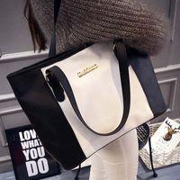 Wholesale Large Leather Tote Bags Wholesale - Wholesale- Fashion Panelled Large Capacity Leather Ladies Handbag Travel Messenger Bag Women's Casual Smile Face Tote Shoulder Bags Bolsas