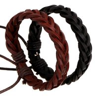 Wholesale Handwoven Rope - New Fashion Punk Leather Bracelets Personality Plait Style Handwoven Adjustable Charms Bracelet Black and Brown Wholesale Free shipping