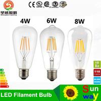 Wholesale 6w Led Equivalent - 2W 4W 6W 8W Led Filament Bulbs Light 360 Angle Warm White 2700K E27 ST64 Led Lights Edison Lamp 110-240V Equivalent to 90W