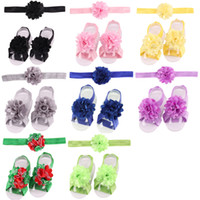 Wholesale Baby Barefoot Sandals Headband - 2016 Baby Headbands Foot Flowers Sets Girls Barefoot Sandals Toddler Satin Flower Shoes Cover Childrens Hair Accessories Photography Props