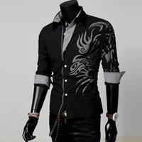 Wholesale Men S Dress Shirts Sale - Hot Sale Men Male Fashion Long Sleeve European Style Tattoo Dragon Printed Shirt Silm Fit Shirt 4 Size 4 Colors