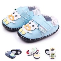 Wholesale Cartoon Shoes For Toddlers - 2016 New Hand-stitched Toddler Walking Shoes for Girl Boy Animals Cartoon Pattern Leather Upper Anti-slip TPR Hard Sole Hook&loop Wholesale
