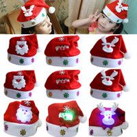 Wholesale mini santa hats - Led Kids Christmas Hat Xmas Adult Mini Red Santa Claus Deer Party Decor Christmas Caps Christmas Decorations Gift WX9-128