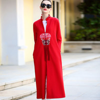 Wholesale Standard Dress China - In The Autumn of 2017 New Windbreaker, China Retro Pocket Coat, In The Long Sleeved Collar Dresses, Women's Trench Coats