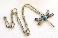 Wholesale Dragonfly Bronze Charm - Vintage Hollow Turquoise Dragonfly Pendant Necklace Fashion Charm With Sapphire long necklace Sweater Chain Bronze Women