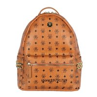 Wholesale Leather Computer Backpack For Women - Top Quality korean PVC leather backpack for Men Women sprots backpack bags Punk Rivets backpacks medium Size 41*32*16 cm spree worthy
