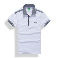 Wholesale Polo Fashion - 2017 new high quality Summer Hot Sale boss lapel Polo Cotton Shirt Men Short Sleeve Sport Polo Striped fashion Casual Free Shipping