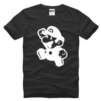 Wholesale Super Mario Tee - WISHCART Super Mario Supermario Cartoon Mens Men T Shirt T-shirt Fashion 2016 New Short Sleeve Cotton Tshirt Tee Camisetas Masculina