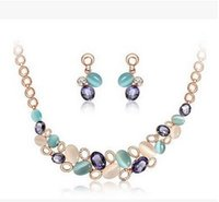 Wholesale Wholesale Jewellery Sapphire - Wholesale Jewellery Sets Fashion European Brand Design Popular Elegant Opals Sapphire Geometric Necklace Earring Sets Women Accessories