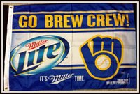Wholesale Beer Hockey - Milwaukee Brewer Nylon MILLER LITE BEER Flag baseball fan Cheerleading Flag custom Sports & Outdoors Hockey College Football Team Flags