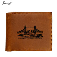 Wholesale london purse for sale - London Tower Bridge Genuine Leather Men Wallet Male luxury Laser Engraved Name Wallet with zip coin pocket Gift Purse