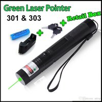 Wholesale Powerful Laser Burns Matches - Free shipping 532nm Powerful 301 303 Green Red Laser Pointers Pen Laser Light Focus 18650 Battery Retail Box Burning Match Teaching Free DHL
