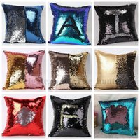 Wholesale Decor Pillow Cases - Sequin Pillow Case Sequin Pillowslip 2 Tone Color Pillow Case Reversible Cushion Pillow Cover Home Sofa Car Decor Mermaid Pillow Covers B8